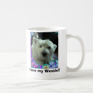 blue flowers, I love my Westie!! Mugs