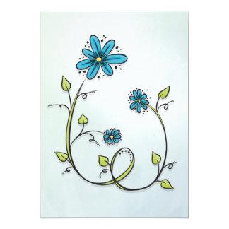 Blue flowers illustration card
