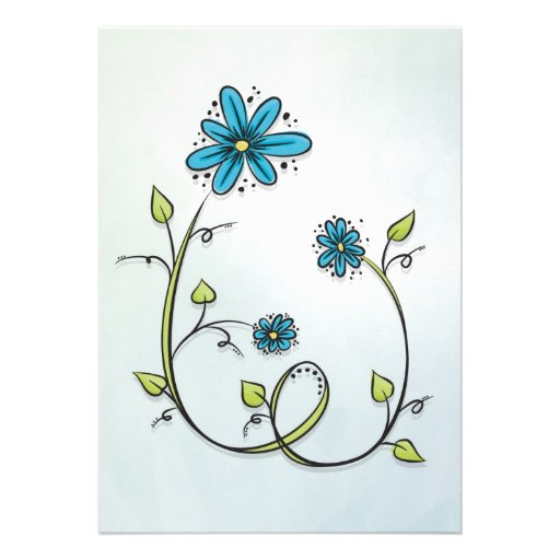 Blue flowers illustration cards