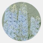 Blue Flowers Impression Round Stickers
