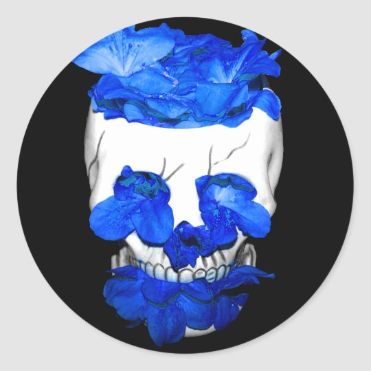 Blue Flowers In A Skull Classic Round Sticker