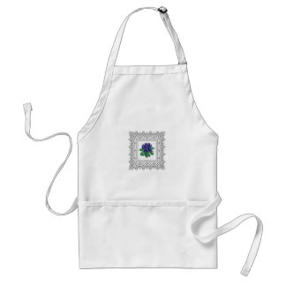 blue flowers in cube adult apron