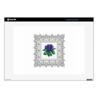 blue flowers in cube laptop decals