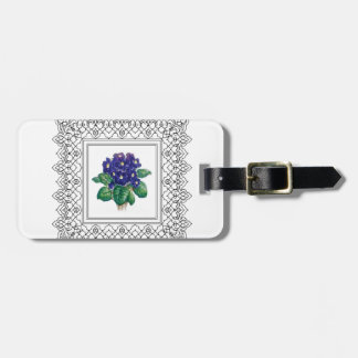 blue flowers in cube luggage tag