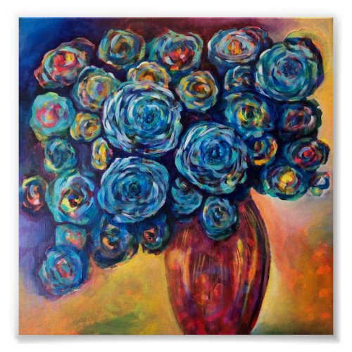 Blue Flowers in Red Vase Poster - floral blue abstract wall art