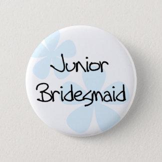 Blue Flowers Jr. Bridesmaid Pinback Button