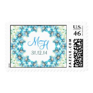 blue flowers letters monogram wedding stamps