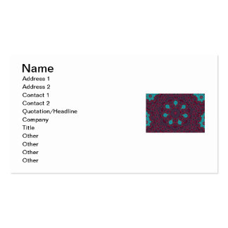 Blue Flowers Mandala on Red Business Card