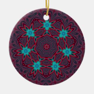 Blue Flowers Mandala on Red Ceramic Ornament