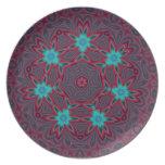 Blue Flowers Mandala on Red Dinner Plate
