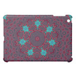 Blue Flowers Mandala on Red Cover For The iPad Mini
