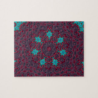 Blue Flowers Mandala on Red Jigsaw Puzzle