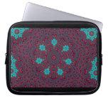 Blue Flowers Mandala on Red Laptop Sleeves