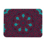 Blue Flowers Mandala on Red Magnets
