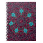 Blue Flowers Mandala on Red Notebook