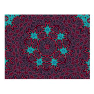 Blue Flowers Mandala on Red Postcard
