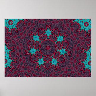 Blue Flowers Mandala on Red Print
