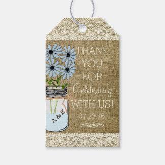 Rustic Wedding Gift Tags : Blue Flowers Mason Jar Rustic Country Wedding Gift Tags