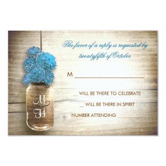 blue flowers mason jar wedding RSVP cards Custom Invitation