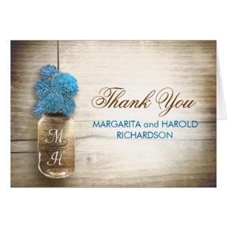 Blue flowers mason jar wedding thank you cards