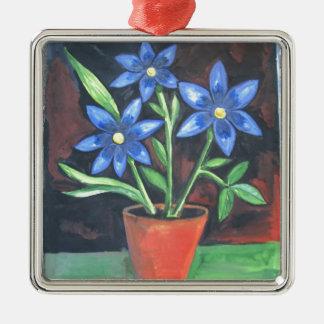 Blue Flowers Metal Ornament