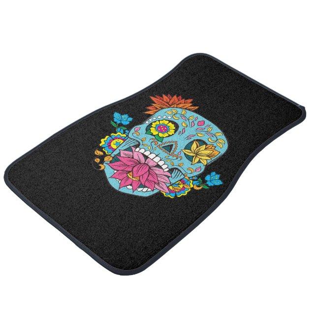 Blue Flowers Mexican Tattoo Sugar Skull Car Floor Mat Zazzle