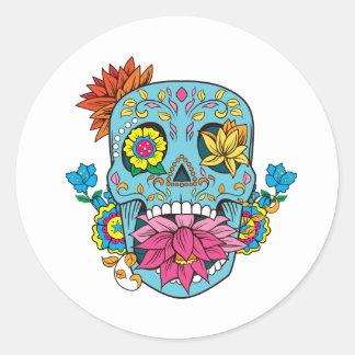 Blue Flowers Mexican Tattoo Sugar Skull Classic Round Sticker