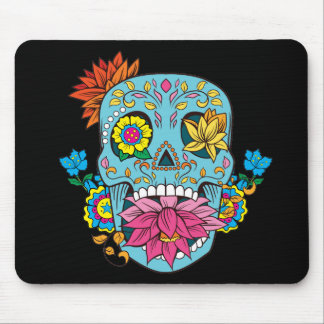 Blue Flowers Mexican Tattoo Sugar Skull Mouse Pad