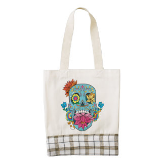 Blue Flowers Mexican Tattoo Sugar Skull Zazzle HEART Tote Bag