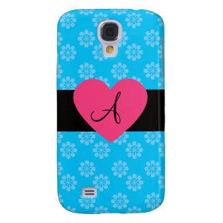 Blue flowers monogram pink heart galaxy s4 case
