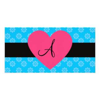 Blue flowers monogram pink heart personalized photo card