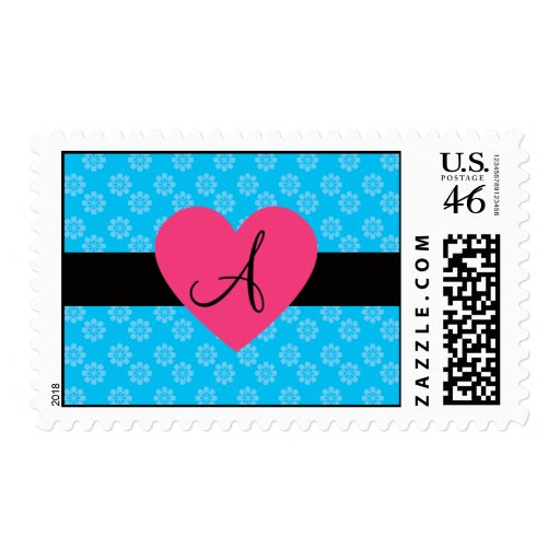 Blue flowers monogram pink heart postage stamps
