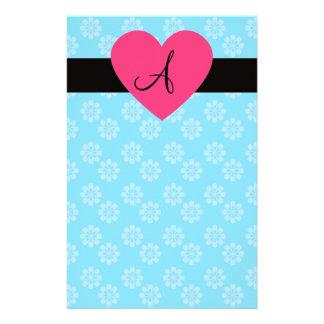 Blue flowers monogram pink heart personalized stationery