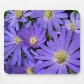 Blue Flowers Mousepad Purple / Blue Decor Gifts