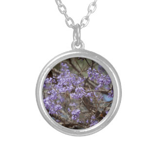 Blue flowers of a Jacaranda Tree Silver Plated Necklace