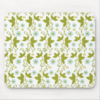 Blue flowers olive green vine pattern mouse pad