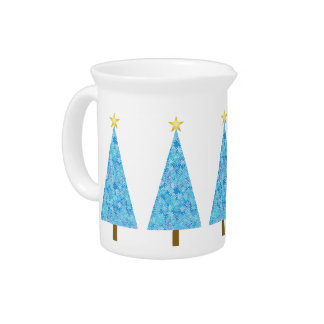 Blue flowers on a modern Christmas tree Drink Pitcher