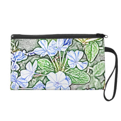 blue flowers on green sketch plumbago plant wristlet