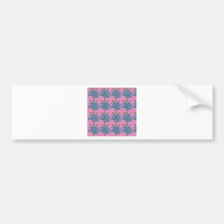 blue flowers on pink background bumper sticker