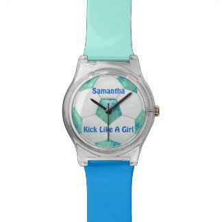 Blue Flowers on Teal Soccer Ball Wristwatch