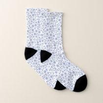 Blue flowers on white elegant pattern socks