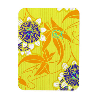 Blue Flowers on Yellow Magnet
