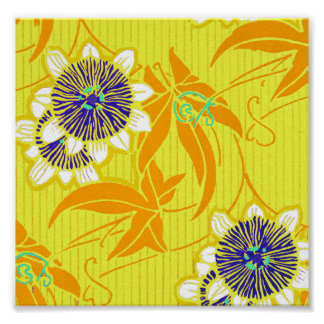 Blue Flowers on Yellow Poster
