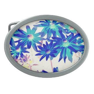 Blue flowers Oval Belt Buckle