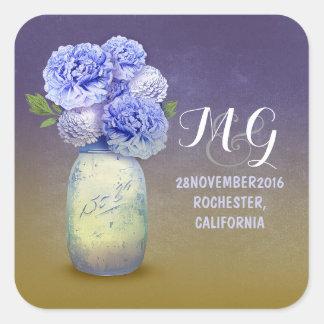 Blue flowers painted mason jar wedding stickers