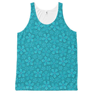 Blue Flowers pattern All-Over-Print Tank Top