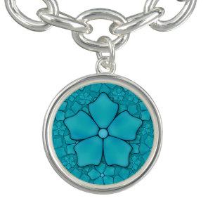 Blue Flowers pattern Charm Bracelets