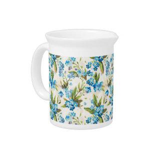 Blue flowers pattern drink pitcher