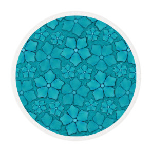 Blue Flowers pattern Edible Frosting Rounds