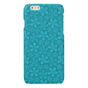 Blue Flowers pattern Glossy iPhone 6 Case